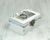 We Do, Ring bearer box, White Black ring box bearer, Distressed wedding ring box, Ring Bearer Pillow Alternative