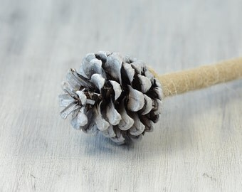 White Pine Cone guest book pen, rustic guest book pen, woodland wedding reception, country wedding decor decorations, winter