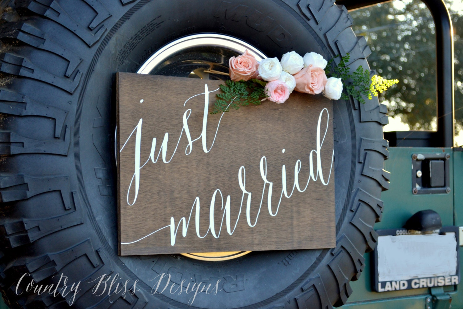 Wedding car sign just married sign wedding by for Just married dekoration