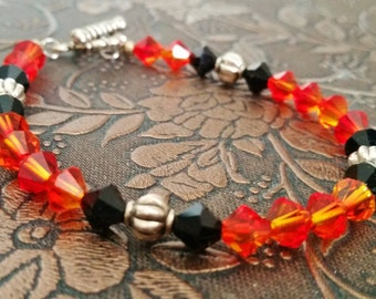 Orange and Black Bracelet, Fall Swarovski Jewelry, Halloween Bracelet