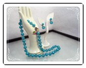Held for Teresa   Vintage Teal Blue Marvella Bead Necklace & Earrings Set      Demi-1638a-121012000