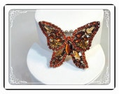 Reserved for Bonnie White   Weiss Fall Brooch - Orange & Brown Fall Butterfly - 1950's Vintage Signed Weiss   Pin-1311a-012312000