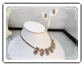 Rhinestone Circles Demi -  Vintage Necklace & Earrings Set - Clear Rhinestones   Demi-1795a-121012000