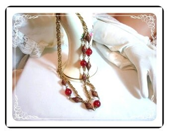 Red Bead Necklace  & Goldtone Chain - Etruscan Opera Length  Neck-1091a-022312000A