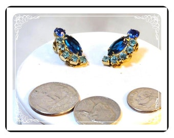 Blue Rhinestone Earrings - Vintage Clip-Ons  E3588a-09172012031