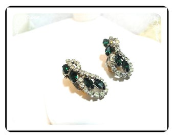 Signed Hobe' Earrings -Green and Clear Rhinestone Clips E521a-071812000