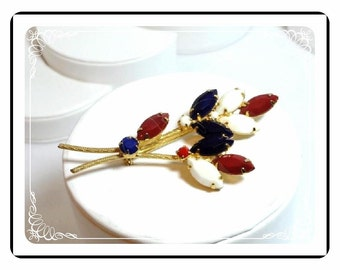 Vintage Bouquet Brooch - Patriotic Red White Blue Brooch     Pin-1587a-052112000