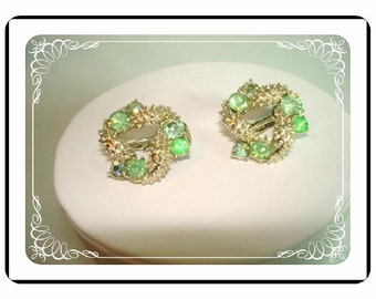 Signed Vintage Coro - Green Rhinestone Spike Earrings - Clip On   E173a-04081200