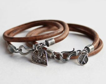 His and Hers Bracelets - Sterling Silver and Leather Matching Bracelet Set Peace and Love Valentines gift