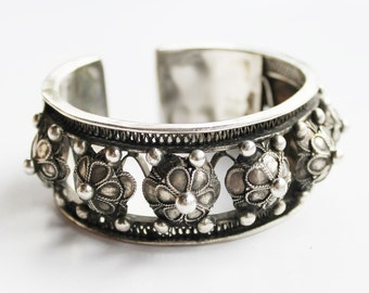Stacking ethnic silver cuff bracelet - gypsy boho rocker style filigree bangle, tribal silver adjustable cuff