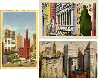 3 Wall Street Financial District Vintage Postcards New York City/2 Linen Cards