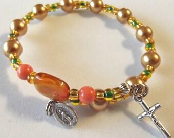 Orange and Gold Swarovski Pearl Rosary Bracelet