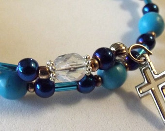 Turquoise Blue and Crystal Rosary Bracelet