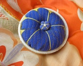 Pin Cushion with Japanese Vintage Kimono Fabric and small pottery, #6