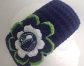 Seattle Seahawks headband crocheted  in navy lime green aand white