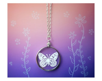 Butterfly Necklace- Original Handcut Paper in Glass Pendants with Silver Chain