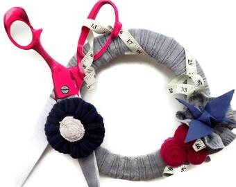 I Love Sewing  Wreath Seamstress Themed Wreath Scissors Sweater Wreath