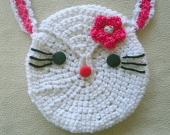 Girls Kitty Face Purse/Bag Shoulder Carry White and Pink with Kitty Button-Cute