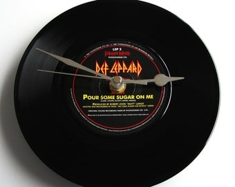 "DEF LEPPARD ""Pour Some Sugar On Me"" Vinyl Record Clock. A recycled original 7"" record. Boxed. Great birthday gift for heavy metal rock fans"