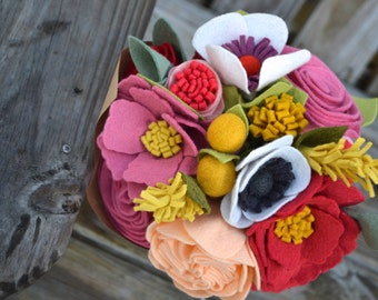 Felt Flower bouquet - bride, bridesmaids, table flowers, special occasion flowers