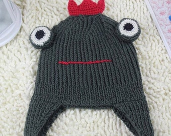 Frog Prince Hat with Ear Flaps- Knitted Handmade