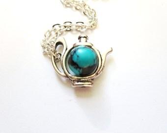 amber tea pot necklace -  Mon Tea pot  Necklace-  mini teapot Necklace- Teapot earrings -Teapot Pendant -tea Party necklace