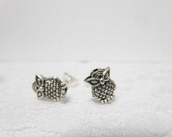 Miniature Owl Necklace - tiny  owl post  earrings, silver owl bracelet -Bridesmaid Gift ,Wedding  gift