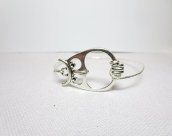 Owl Silver Infinity bracelet -Initial bandle bracelet-Personalized  bracelet -Alphabet Letter bracelet - Letter  bracelet  -Wedding jewelry