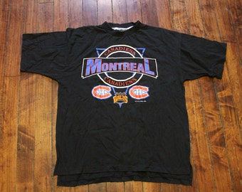 1992 vintage Montreal Canadiens black tshirt NHL hockey graphic tee mens XL