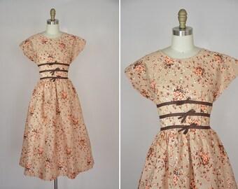 50s Grow Wildflowers dress/ vintage 1950s floral dress/ vintage floral 50s sundress