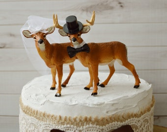 Rustic deer wedding cake toppers buck and doe country themed wedding decor animal cake toppers deer hunter groom groom's cake hunting topper