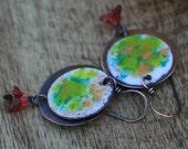 SALE Rustic Copper Enamel * Spring Celebration * earrings - bohemian colorful, round discs, simple, festive, garden, rustic, light weight