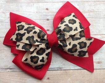 4 inch double pinwheel leopard dark red hair bow - leopard print bow