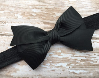 Black baby headband - black bow headband, black newborn headband, baby bow headband, infant headband, toddler headband, baby headbands