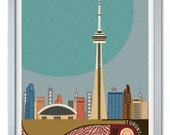 Toronto Skyline, CN Tower, Toronto Art Print, Canada Art, Travel Art, Wall Art, Soft Pastel Painting