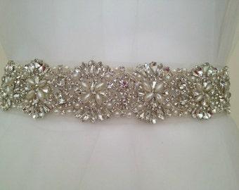 ONE YARD pearl and rhinestone bridal applique
