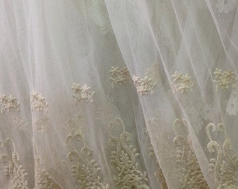 ivory Lace Fabric, cotton Embroidered Lace, retro tulle lace fabric