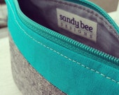 Grey and Teal Zip Pouch