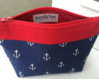 Navy Blue Anchor Bag with Red