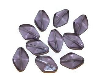 Purple Glass Beads - 10 Beads - 20x12mm (100)