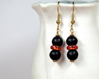 Black stone drop earrings Red cubic zirconia ring bead accent Gold filled ear wire Pierced dangle earrings Fashion office jewelry