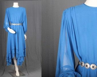 Vintage Blue dress Hi low mullet asymmetrical trapeze layered Boho bohemian women M medium