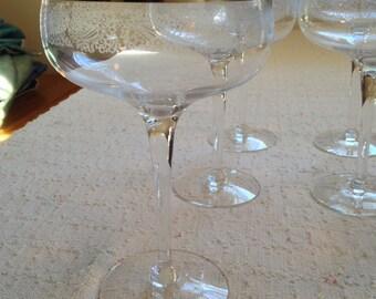 "1970s Reynolds BRIDAL VEIL 6-1/4"" Champayne/Tall Sherbet Crystal Stemmed 9 oz Glasses USA Mfgr by Shenango"