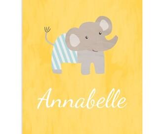 Customized Nursery Art Print Name Animal Elephant Red Yellow Green Blue Pink Baby Girl Boy Cute Unisex Kids Wall Decor