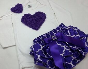 Baby Girl VALENTINE OUTFIT, Purple Heart Onesie, Quarterfoil Ruffle Diaper Cover, Purple Heart Headband, Toddler Valentine Shirt, Purple Set