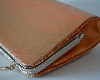 Gold and orange brocade handbag or clutch purse, wedding purse, 1970s vintage Japanese