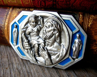 Saint Christopher Medal - Antique Religious Medal - Signed Italy - Italian Religious Stamping - St Christopher