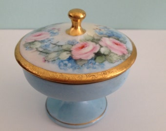 Vintage shabby chic trinket box light blue and pink hand painted cottage antique trinket box nippon porcelain trinket box