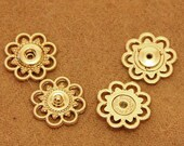 6 pcs 0.83 inch Gold Hollow Flower Snap Fastener Metal Shank Buttons for Coats