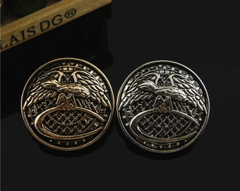 6 pcs 0.59~0.98 inch Retro British Gold/Silver Eagle Metal Shank Buttons for Coats Jackets Sweaters